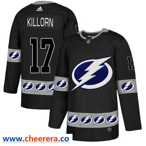 Men s Tampa Bay Lightning  17 Alex Killorn Black Team Logos Fashion Adidas  Jersey 2dcb387a5