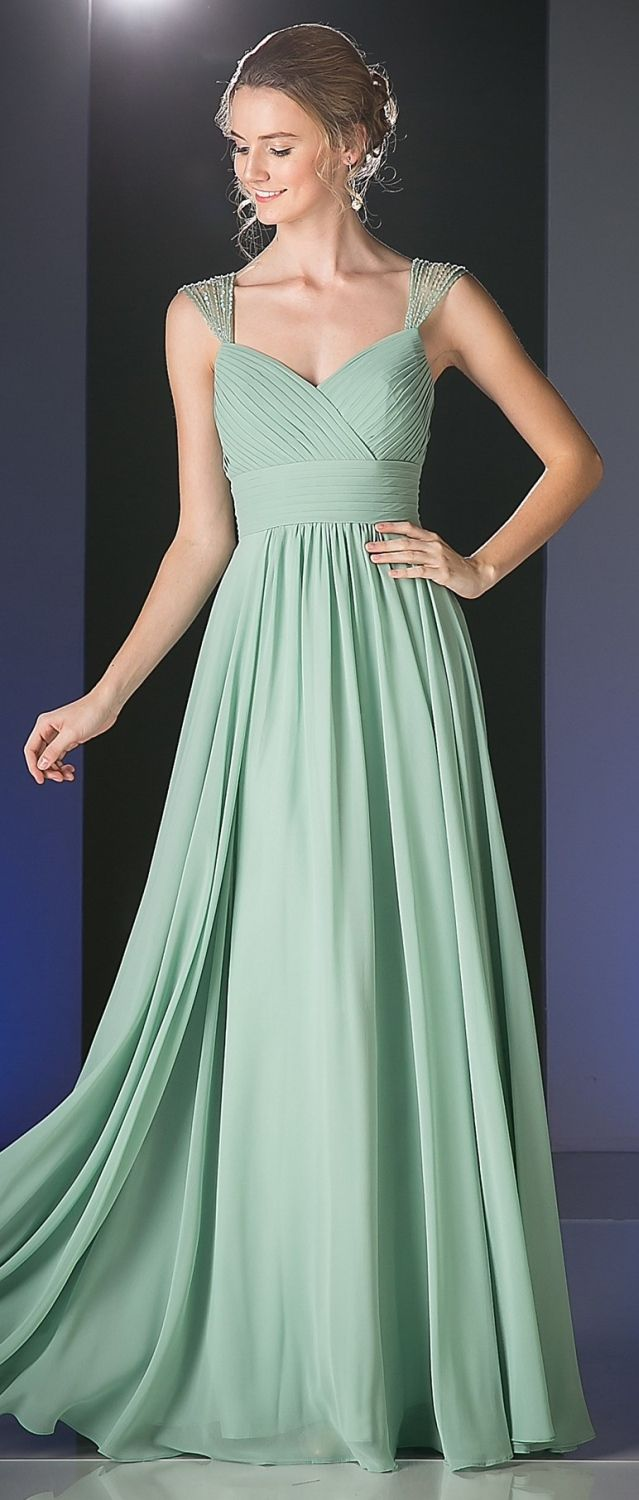 0f0745ae9a  p This long semi formal dress in sage green has beaded sheer cap sleeves  with shirred bodice and pleated empire waist. Gathered waistline and flowy  floor ...