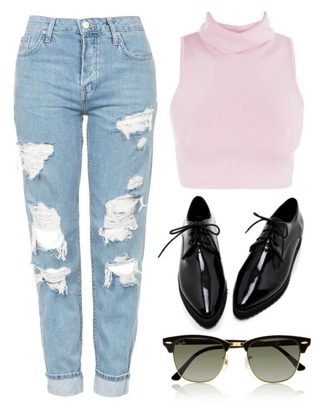 """""""Sin título #3124"""" by greciavalentino ❤ liked on Polyvore featuring Topshop and Ray-Ban"""