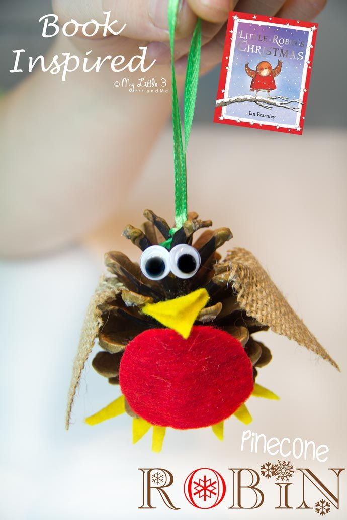 Tweet, tweet! Who wants to join us to make some adorable Christmas Robin ornaments? We've been busy with the pinecones again for this totally cute and easy kid-made Christmas craft. They look so jolly sitting on the mantlepiece or hanging from the tree!