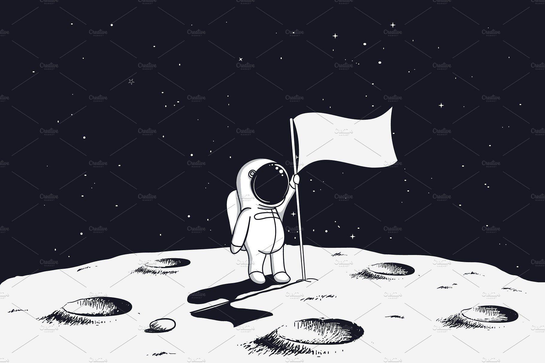 Astronaut On Moon With Flag Astronaut Art Astronaut Drawing Space Drawings Astronaut on moon with flag wallpaper