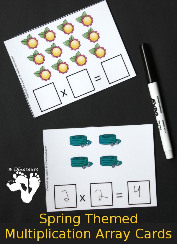 Free Spring Themed Multiplication Array Cards - using numbers 1 to ...