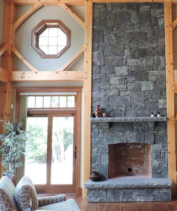 Cozy, Rustic Fireplace Design: Corinthian Granite Squared And Rectangular  Thin Veneer. The Hearth