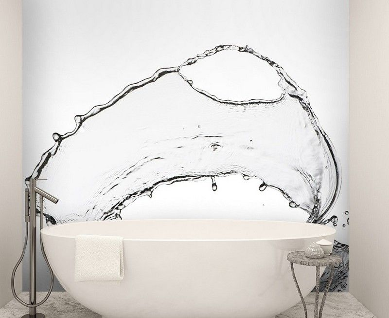 Fototapeten mit Wassertropfen auf der Wand im Badezimmer - fototapete f r badezimmer