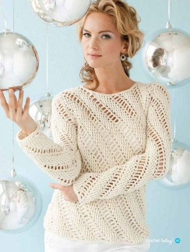 Y385 Crochet PATTERN ONLY Ladies Icicles Pullover Sweater Plus ...