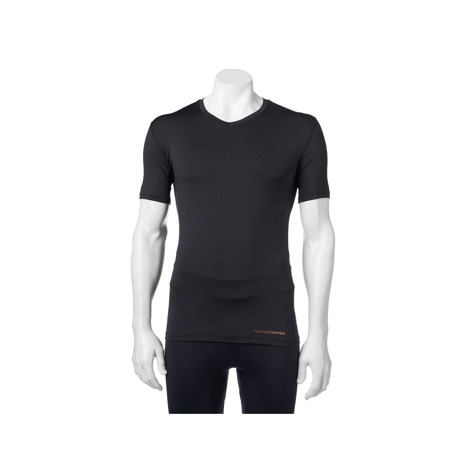 a18cee599 Men's Tommie Copper Recovery Compression V-Neck Shirt, Size: Medium, Black