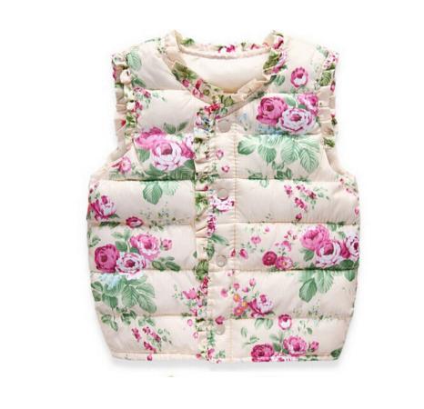 Kids Girls Baby Floral Print Warm Winter Vest Childen Collar Jacket Clothes