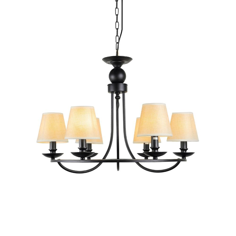Industrial iron light chandelier with fabric shade black