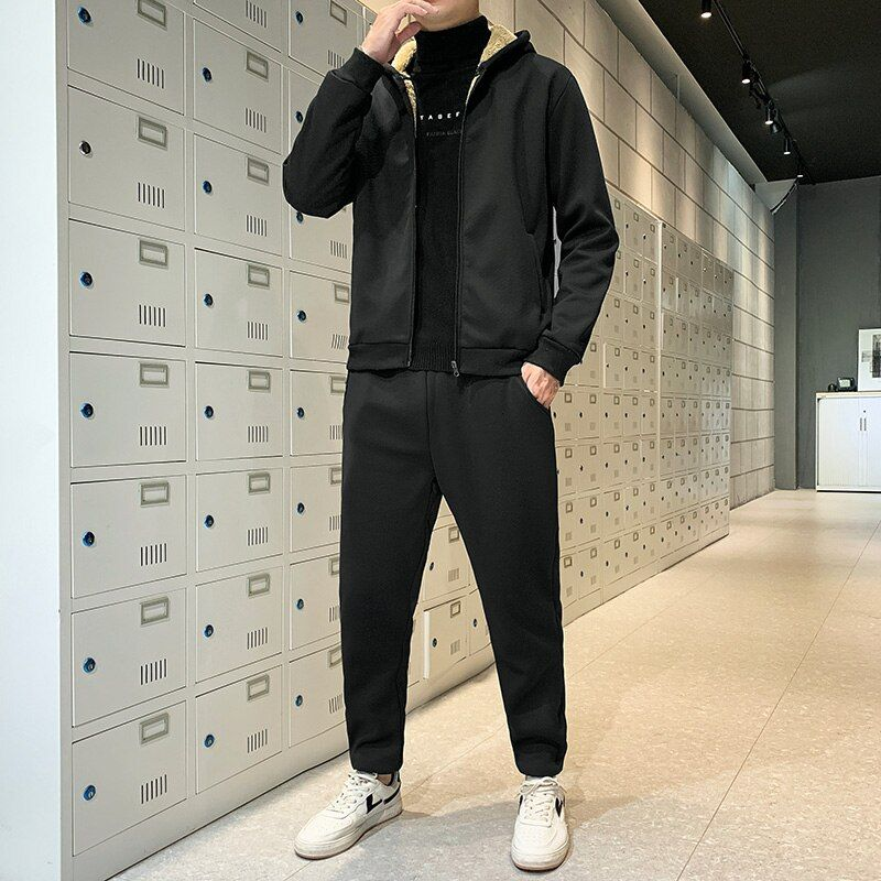 Men/'s Joggers Suit Tracksuits Hoodie Pullover Sweatpants Sets Fleece Football