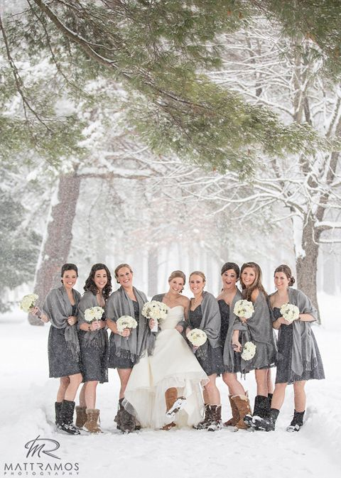 25ee7e1c8d  winter  wedding  grey  wedding with  brides and  bridesmaids in  ugg   boots in the  snow