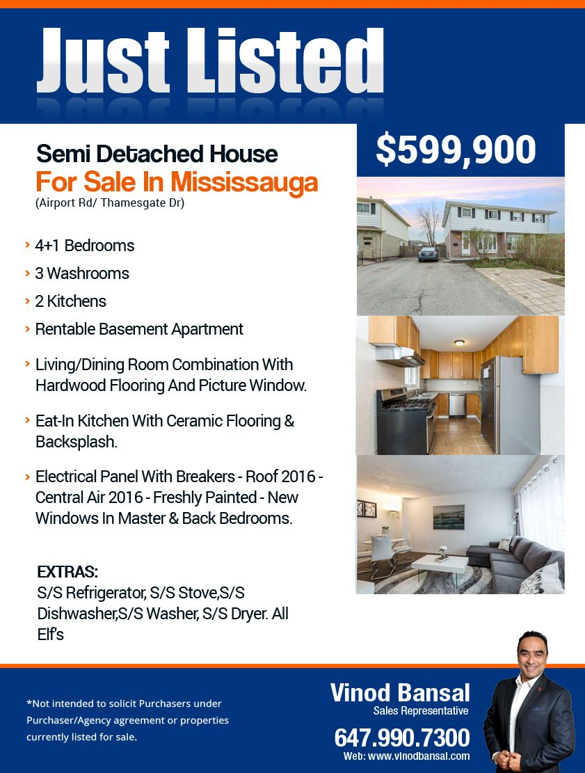Amazing Semi Detached House For Sale In Mississauga Airport Road Download Free Architecture Designs Embacsunscenecom