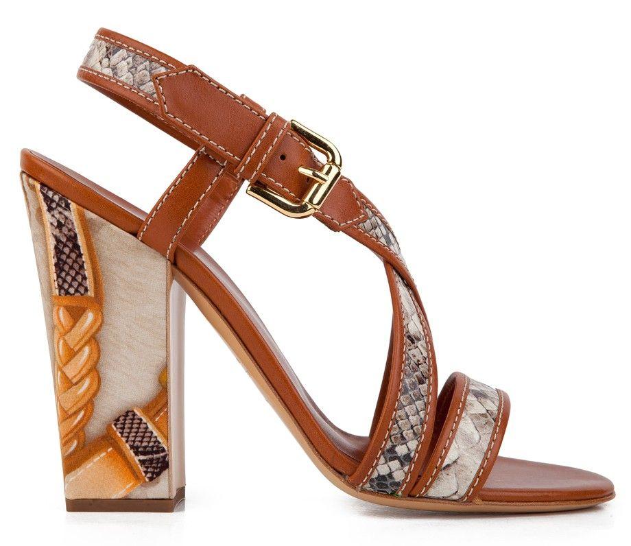 Vicini Snake-print and Vitello leather Block heel Sandals #vicinishoes