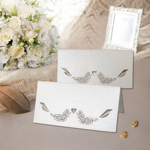 100pcs Laser Cut Paper Place Cards Table Name Card For Wedding Decoration Birthday Party Supplies