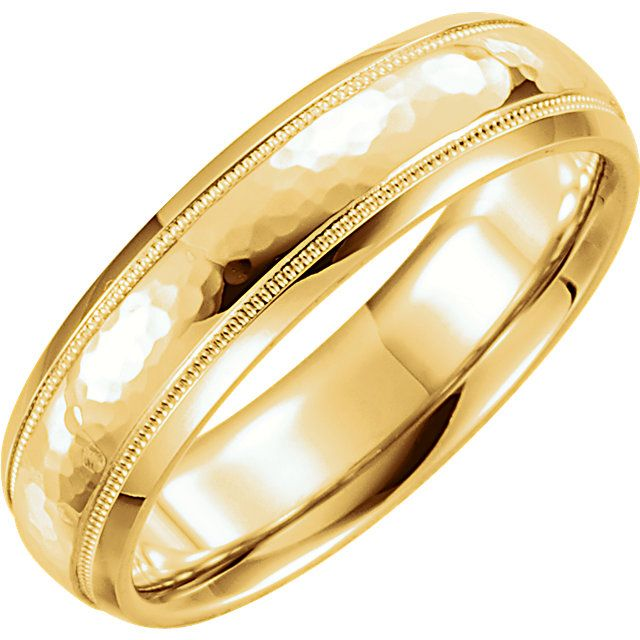 14K Yellow Gold Classic Wedding Band Comfort Fit Half Rounded Brushed Finish Hand Made Wedding Ring Polished Finish- 4.00mm Wide