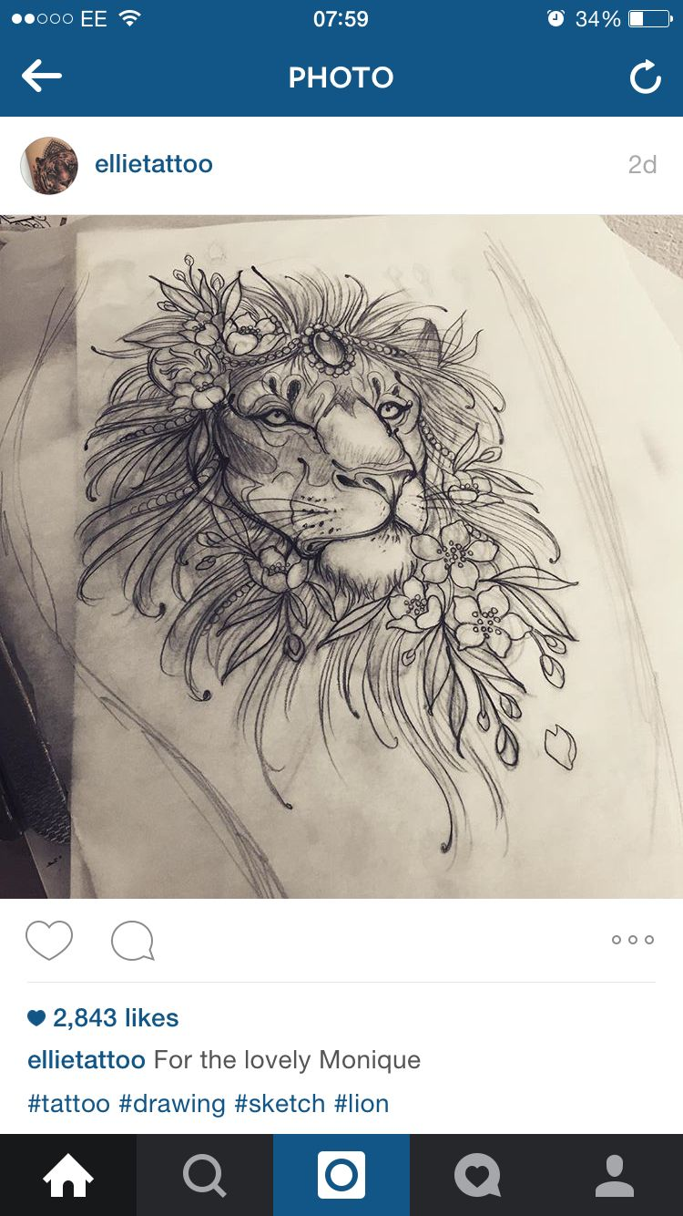 Amazing sketch drawing of lion tattoo with flowers ny