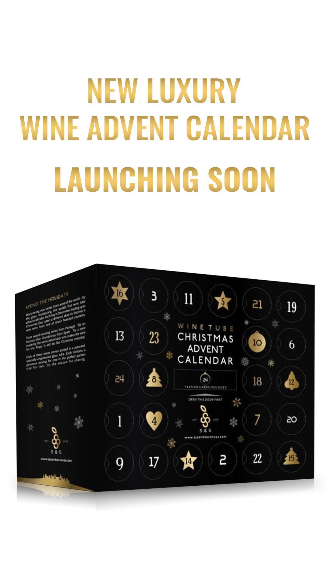 Luxury Wine Advent Calendar #wineadventcalendardiy California couple soon will be launching the world's first luxury Wine Advent Calendar.  Comes with 24 handcrafted wines, from 7 different countries, for $99 (limited quantities available).  Join the pre-order waiting list for more details. #wineadventcalendardiy