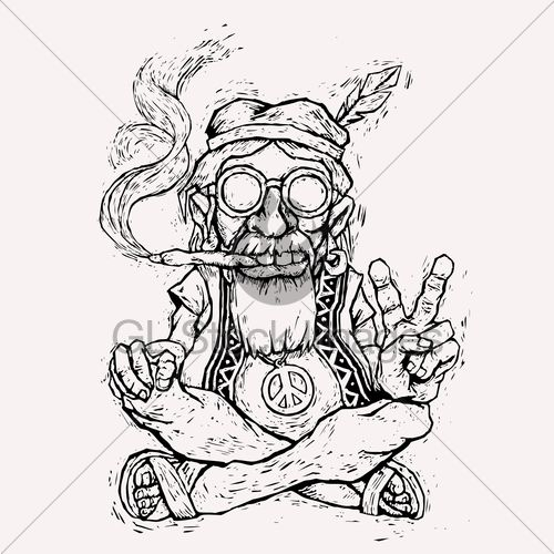 Image detail for -... Hippie Smokes Marijuana And Shows The Peace ...