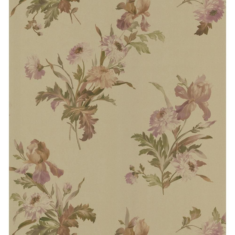 Brewster Kitchen And Bath Resource Ii Gold Iris Floral Wallpaper