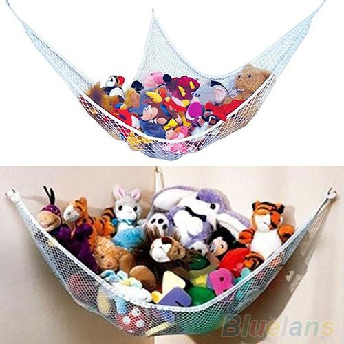 Jumbo Mesh Toy Net for kids toys and stuffed animals Expands Up to 2pk White