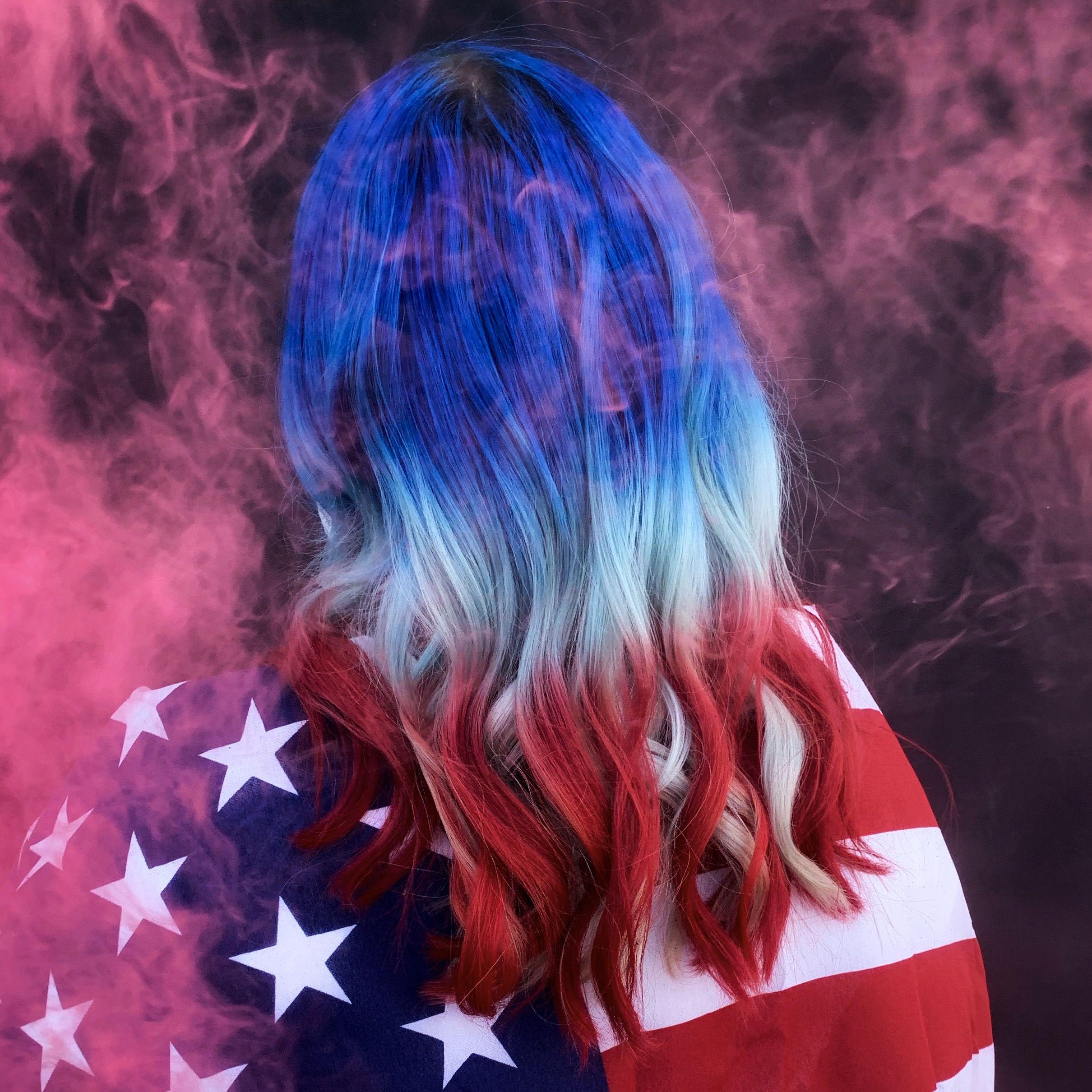 Red White And Blue Hair Dyed Hair Blue Blue Hair Hair Dye Colors