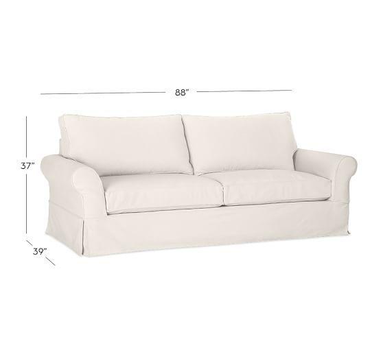 Pb Comfort Roll Arm Slipcovered Sleeper Sofa With Memory Foam