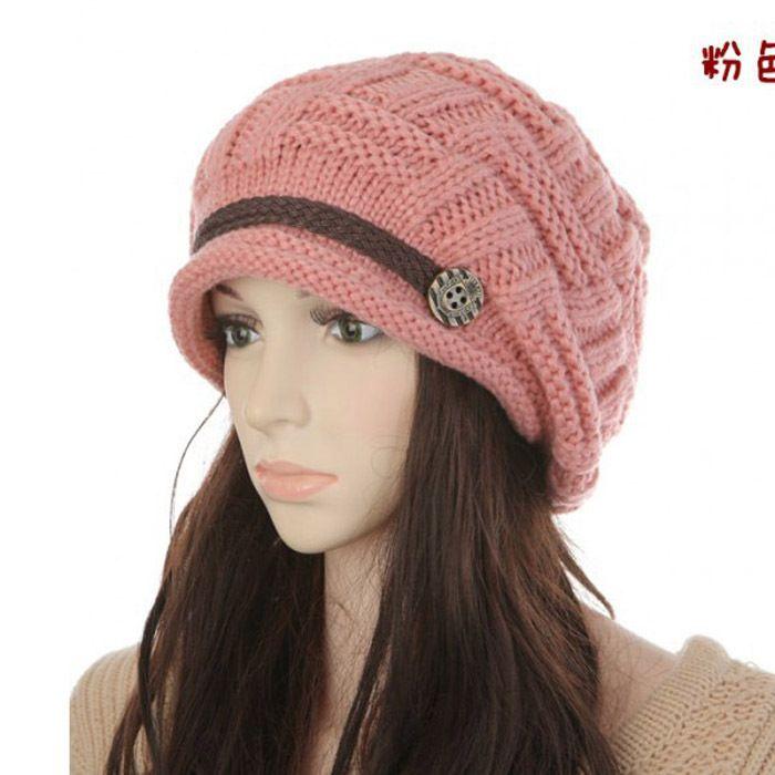 2015 la nueva manera coreana de punto de lana de invierno de los sombreros de las mujeres Gorros Sombrero del oído caliente de la vendimia Señora Gorra de invierno del capo Gorros M125