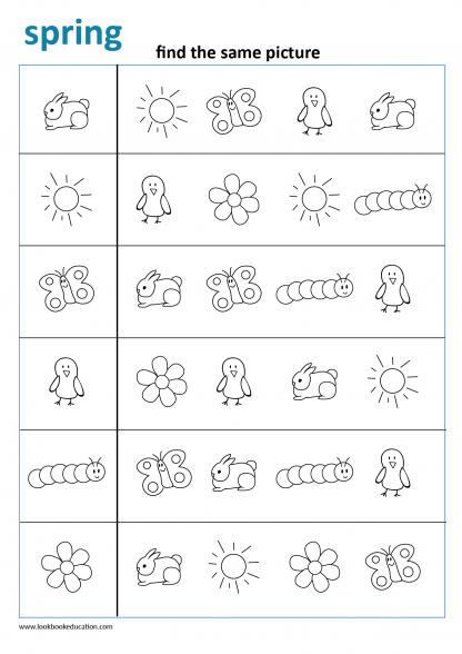 Matching Worksheet Spring In 2020 Preschool Worksheets Free Preschool Worksheets Kindergarten Worksheets