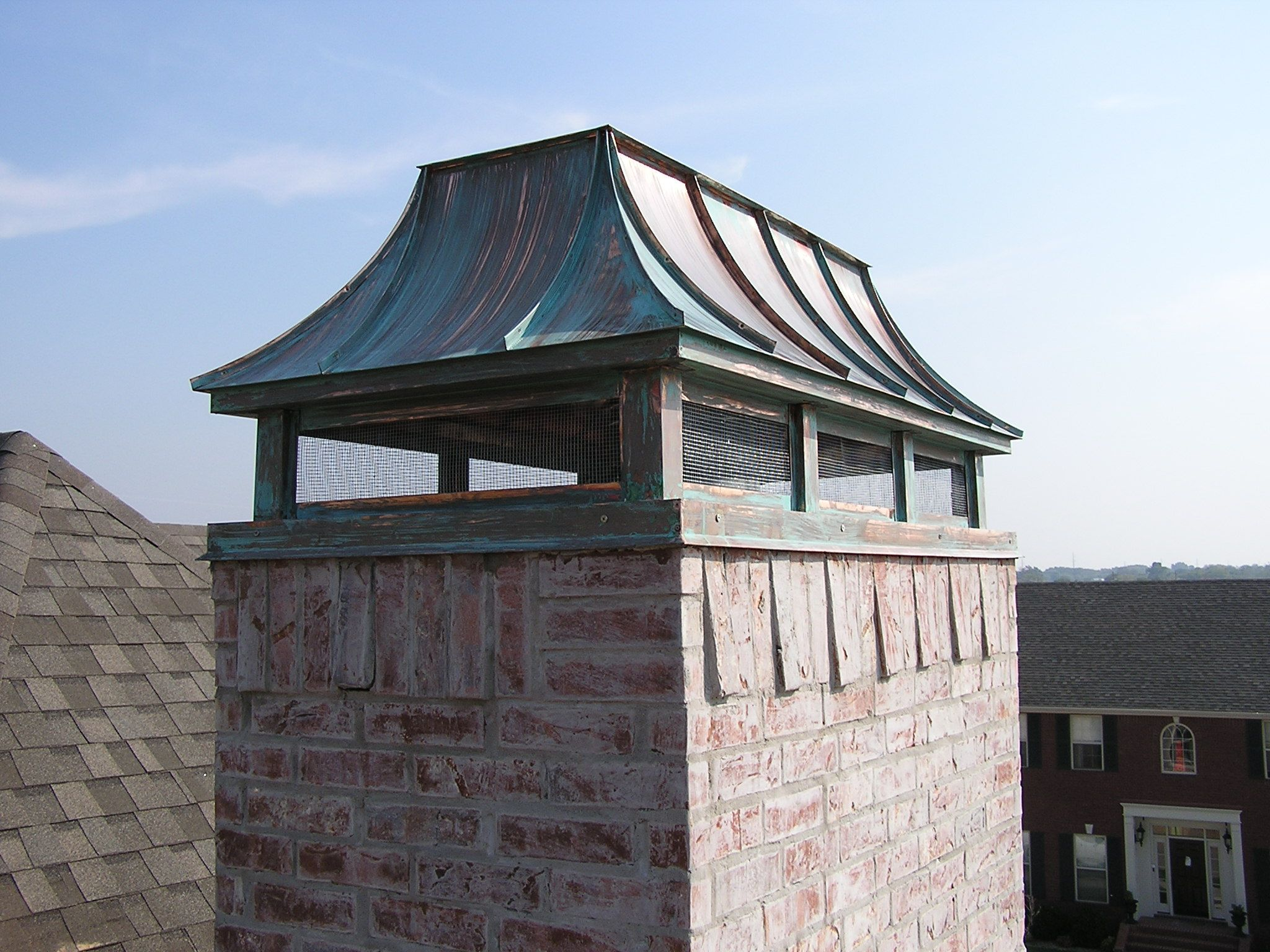 French Chimney Caps : French curved chimney cap patina finish home ideas