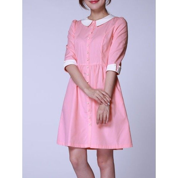 Pink Peter Pan Collar 3/4 Sleeve Cotton-blend Plus Size Casual Dress ...