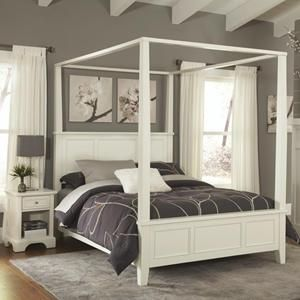 Naples Queen Canopy Bed And Nightstand In White Nebraska Furniture Mart Bedroom Sets Contemporary Canopy Beds House Styles