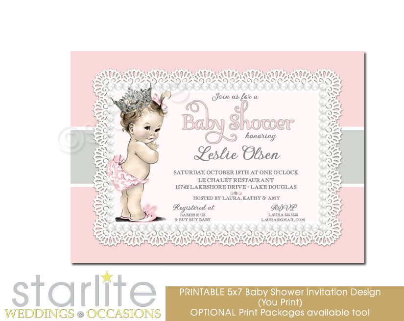 Vintage Princess Baby Shower | Vintage Baby Girl Baby Shower Invitation