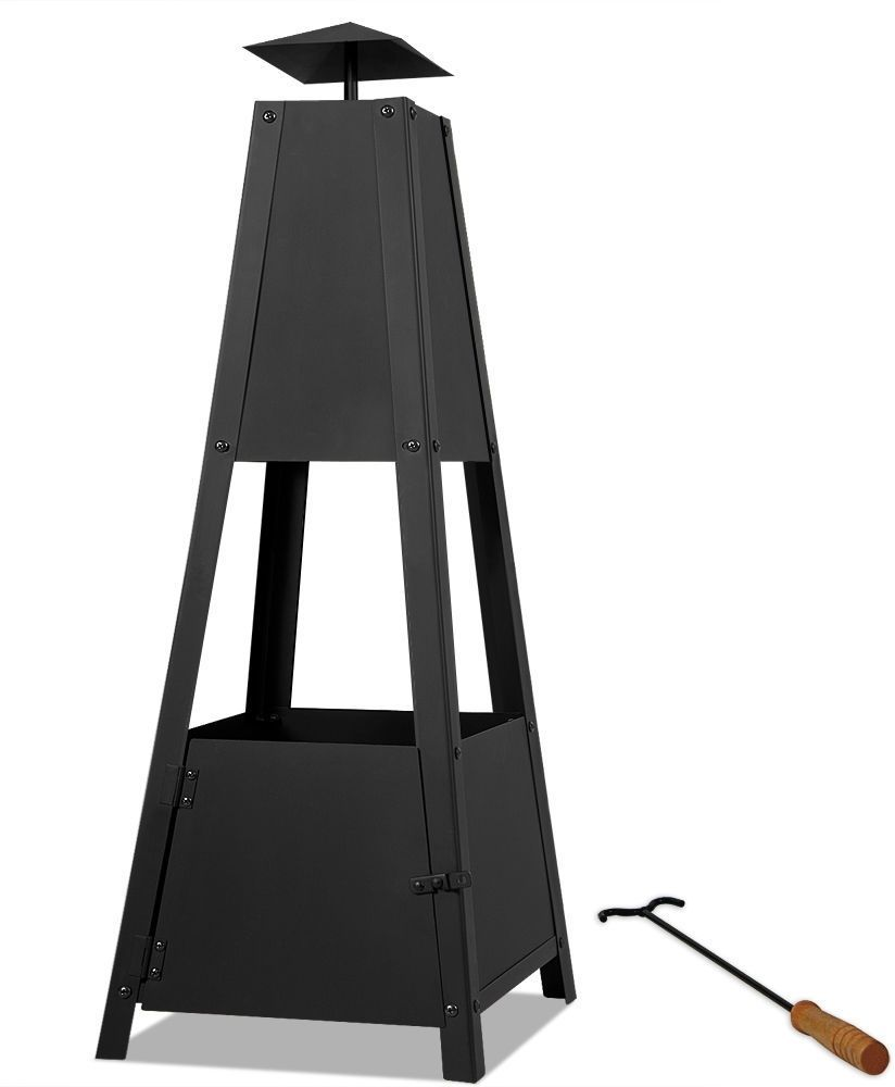 Pyramid Garden Patio Heater Stainless Steel Fire Pit Charcoal Wood Deck Yard NEW