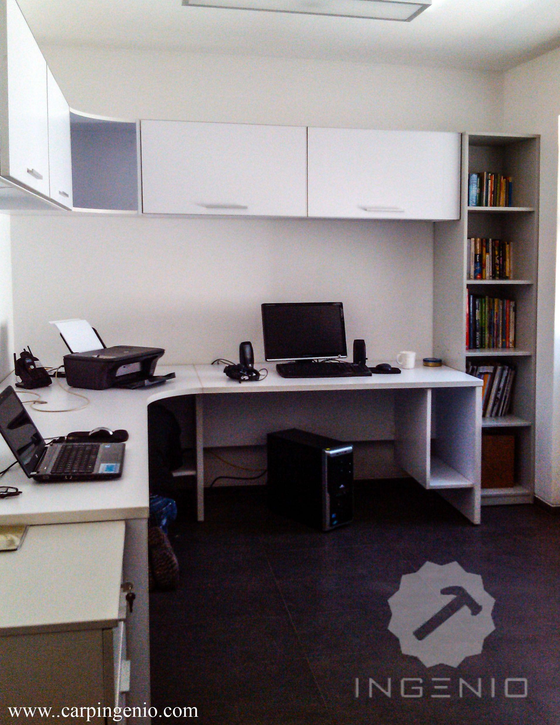 Mueble oficina en melamina color blanco for Habitat store muebles