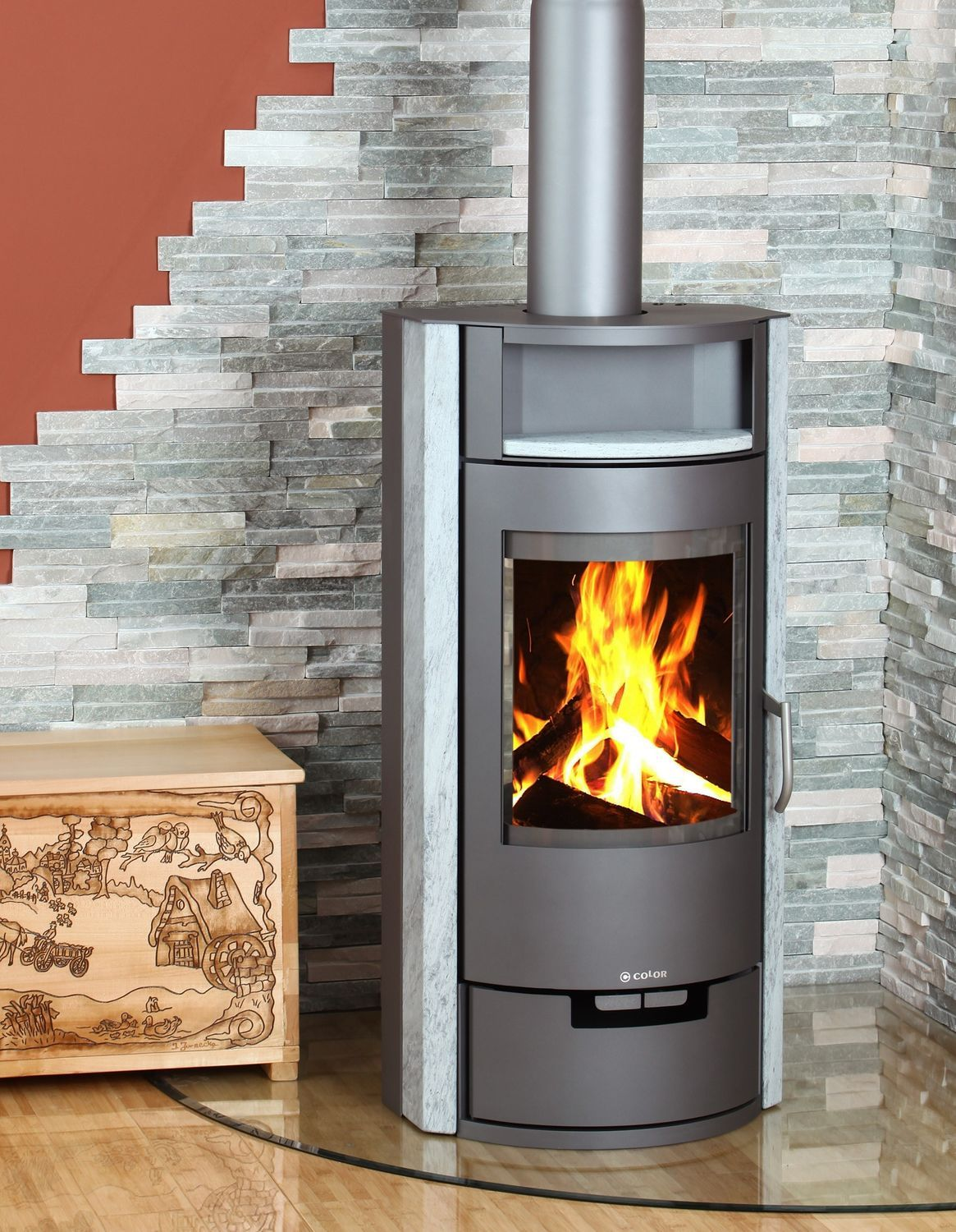 Free standing corner wood burner google search house Contemporary wood burning fireplace inserts