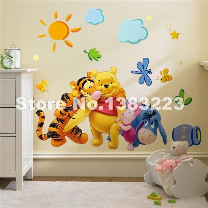 baby wall designs. Winnie The Pooh Wall Decals Kids Bedroom  Baby Nursery Stickers Art Room Decor Cheap decoration sticker wall Buy Quality stickers tinkerbell