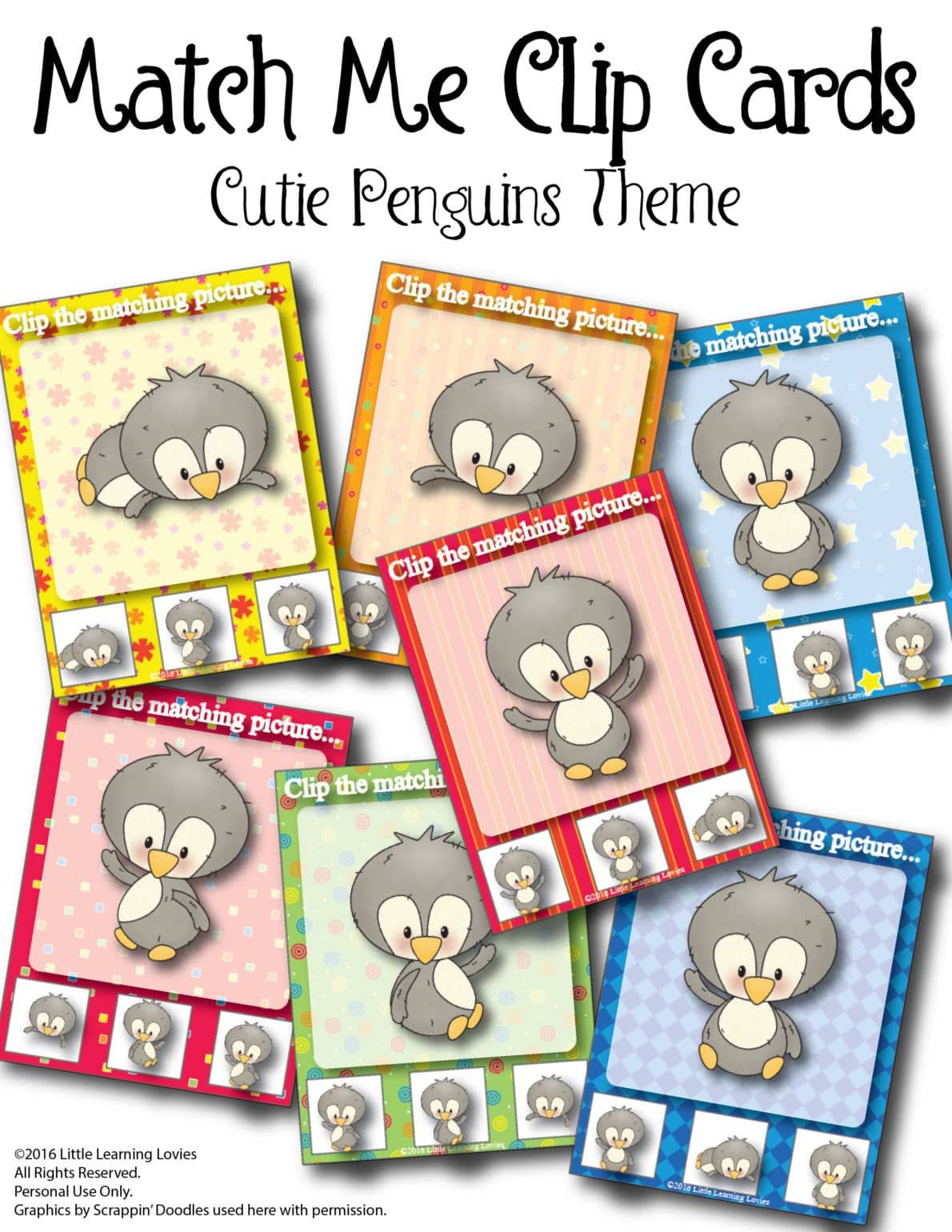 Free Prek Printable Penguin Matching Clip Cards