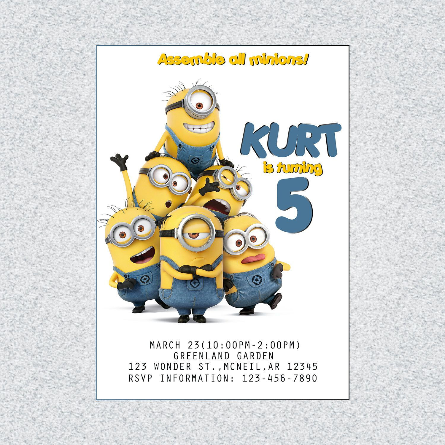 image regarding Minions Printable Invitations named Minions Birthday Invitation, Minions Birthday Card, Minions