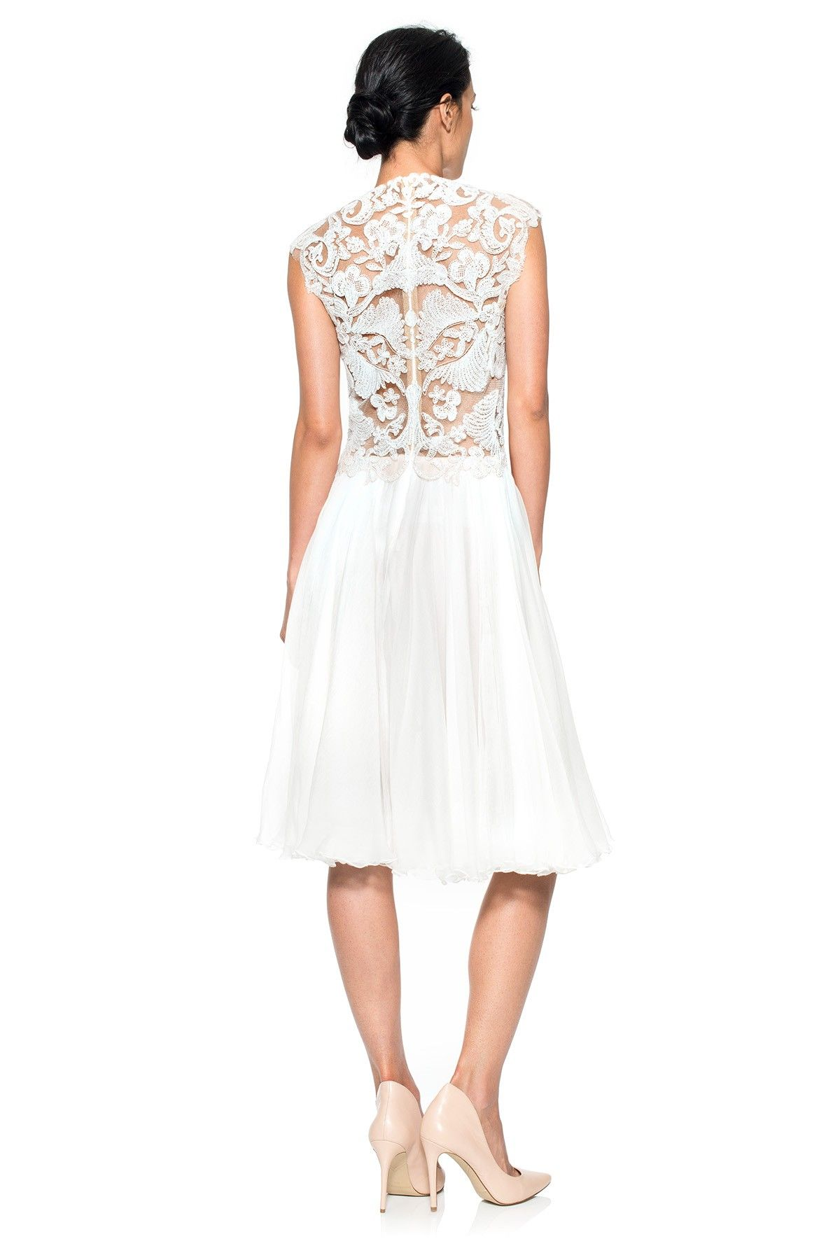 Corded embroidery on tulle and pleated chiffon dress