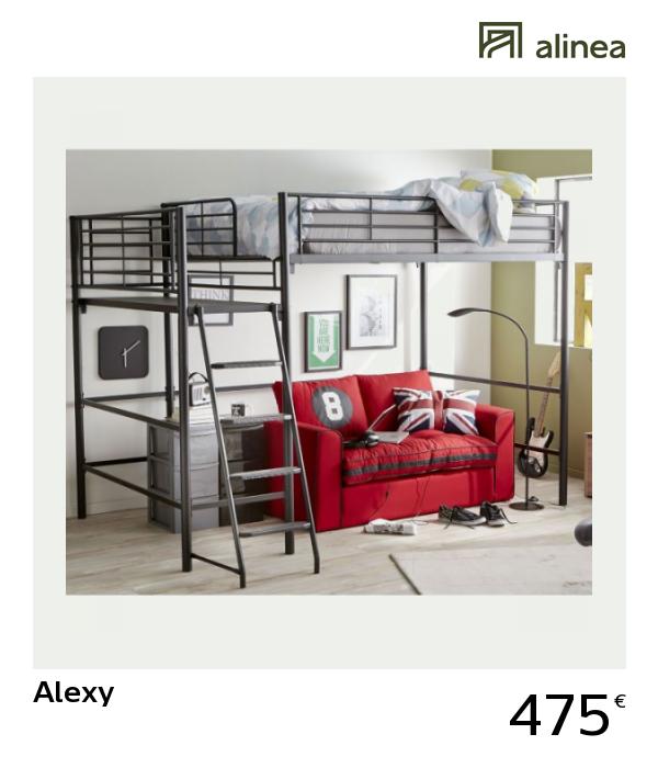 Alinea Alexy Lit Mezzanine 2 Places Noir Avec Plateforme