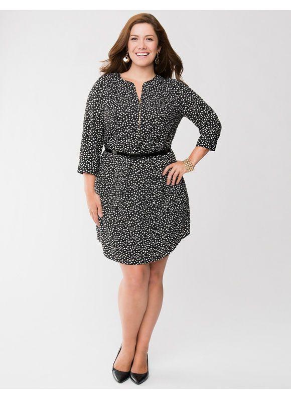 Lane Bryant Plus Size Printed Shirt Dress With Zipper Womens