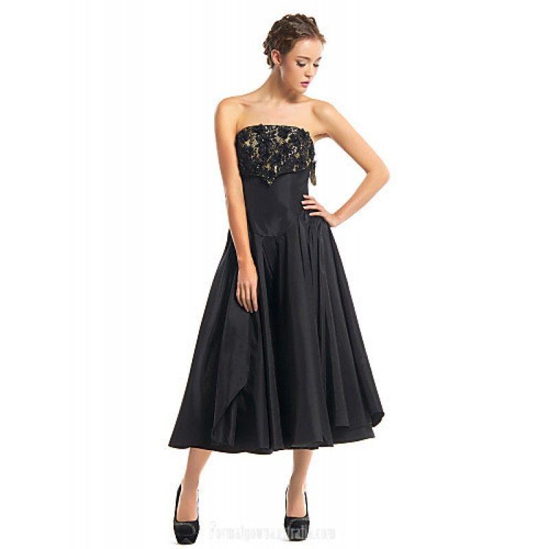 Australia Cocktail Party Dress Black A Line Strapless Tea Length