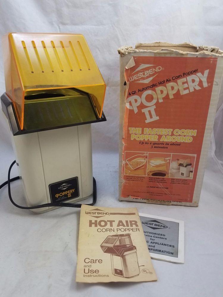 Vtg West Bend Poppery Ii 2 Popcorn Popper Coffee Roaster 1200 Watt
