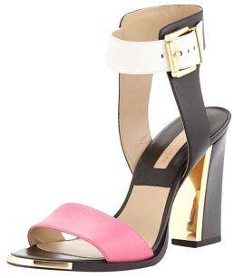 Michael Kors Colorblock Heels Gold Black, Pink, White Sandals