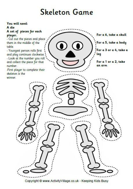Skeleton dice game teaching halloween craft activities - Scary skeleton games ...