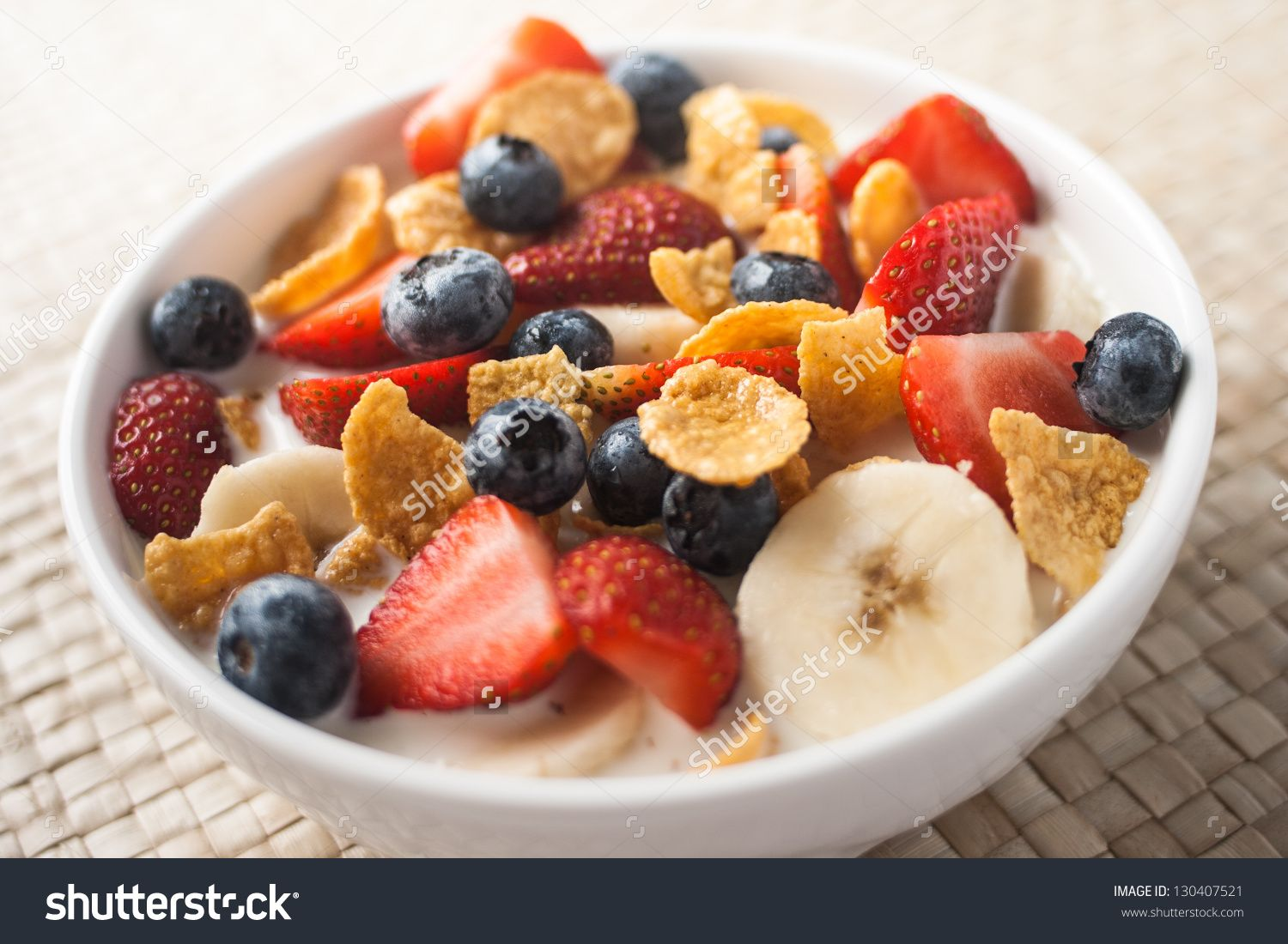 Healthy Breakfast Corn Flakes With Strawberry Blueberry Banana