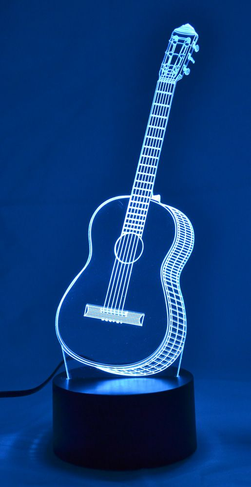 Acoustic Guitar 3d Lamp 3d Lamp Music Gifts Silhouette Curio Projects