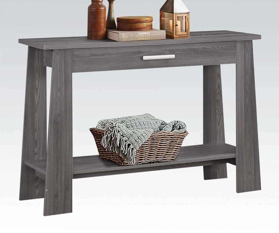 Falan Dark Gray Wood Sofa Table W Bottom Shelf Furniture Wood Sofa Table Console Table