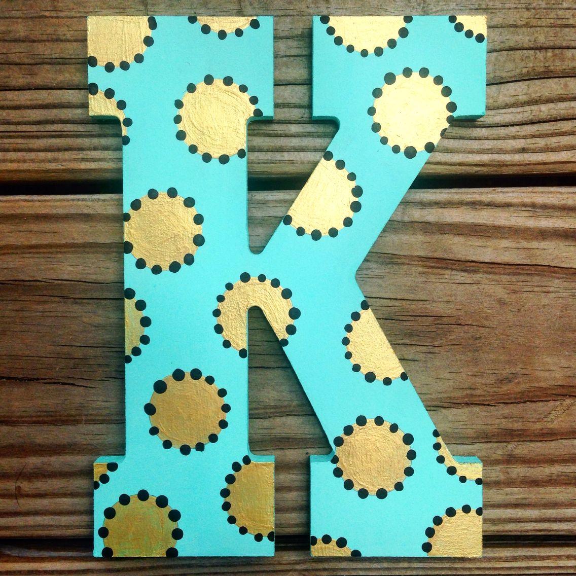 Boho Dots Letter K Check Out Kindasouthern Etsy Com Wooden