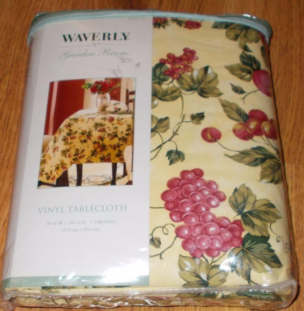 Waverly Garden Room Floral Manor Tablecloth Vinyl Fruit 60