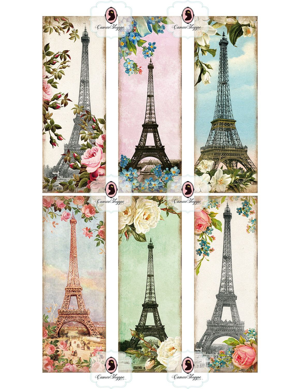 Collage Vintage: BOOKMARK Digital Collage Sheet Glamour Paris Digital Sheet